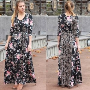 NEW Genevieve Floral Maxi Dress - Navy/Pink